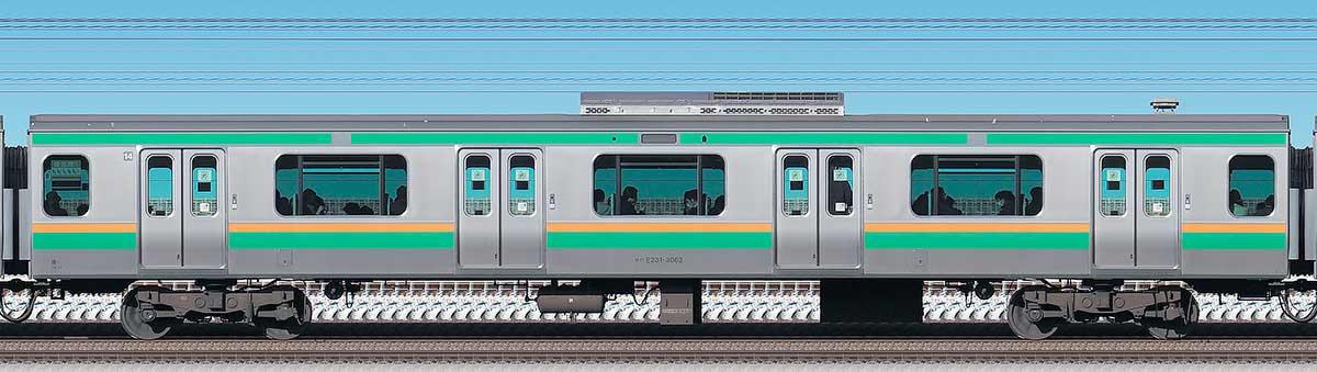 JR東日本E231系サハE231-3062海側の側面写真