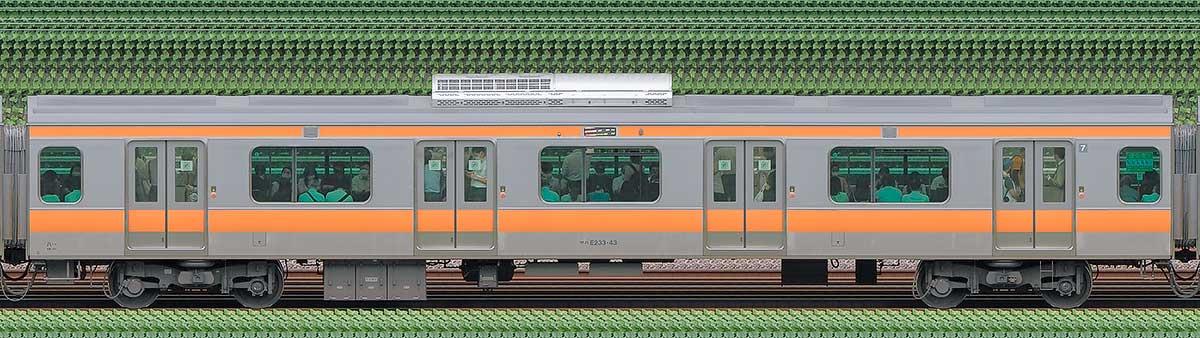 JR東日本E233系サハE233-43山側の側面写真