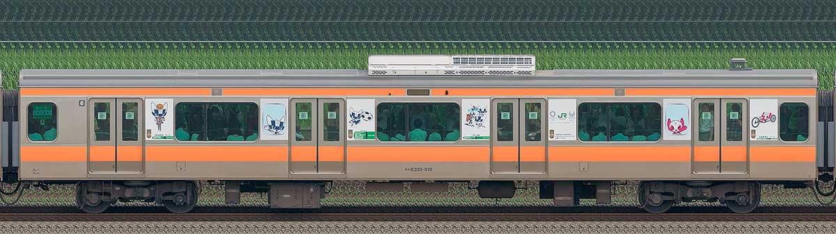JR東日本E233系サハE233-510(東京 2020 マスコット特別車体ラッピングトレイン) 海側の側面写真