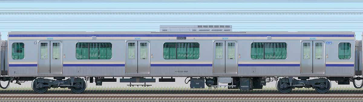JR東日本E235系1000番台サハE235-1001海側の側面写真