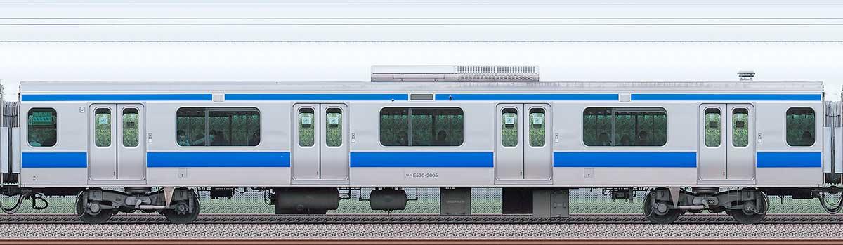 JR東日本E531系サハE530-2005海側の側面写真