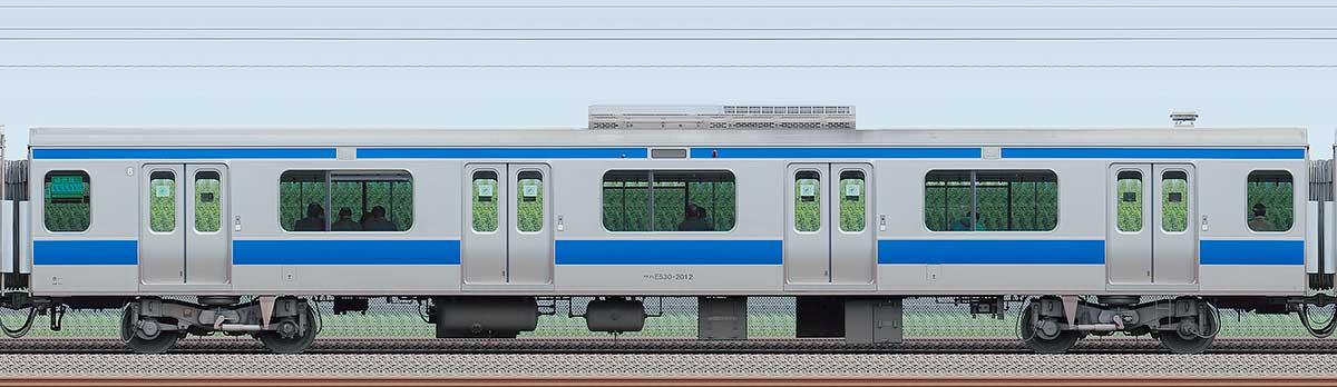 JR東日本E531系サハE530-2012海側の側面写真