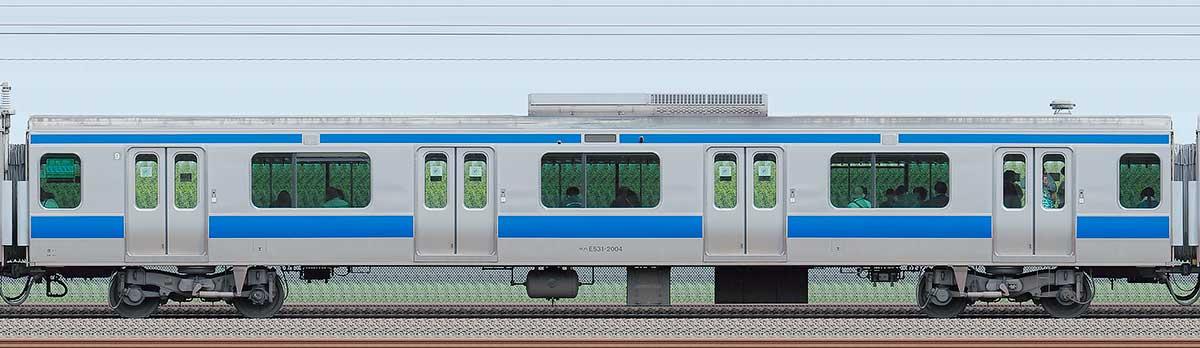 JR東日本E531系サハE531-2004海側の側面写真