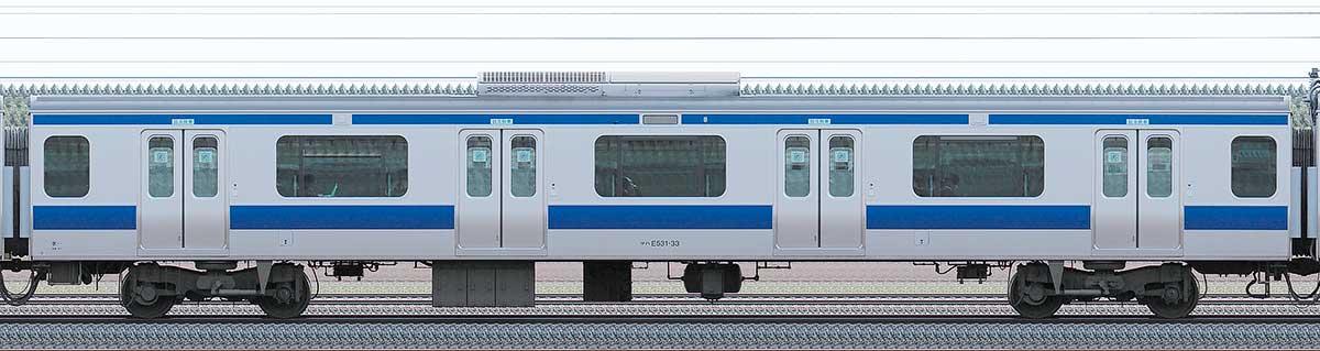 JR東日本E531系サハE531-33山側の側面写真