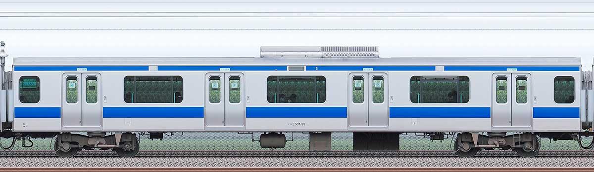 JR東日本E531系サハE531-33海側の側面写真
