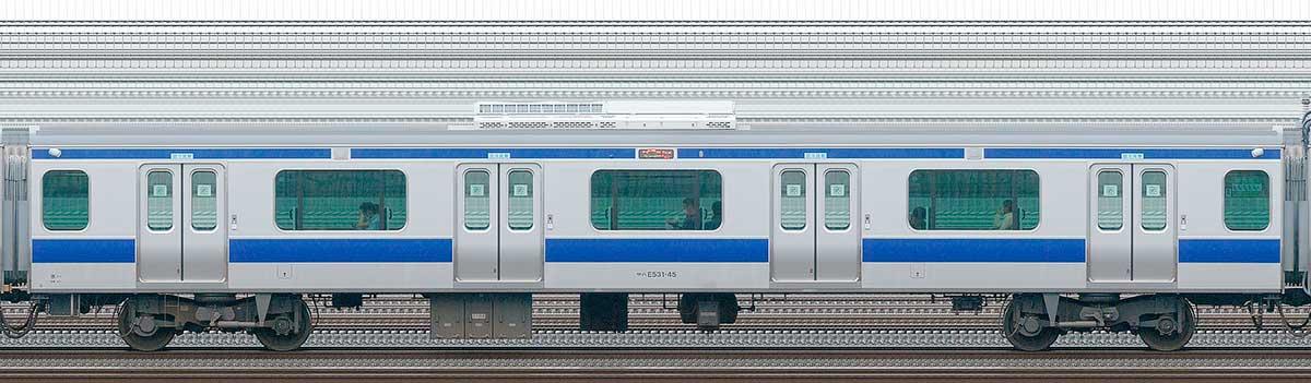 JR東日本E531系サハE531-45山側の側面写真