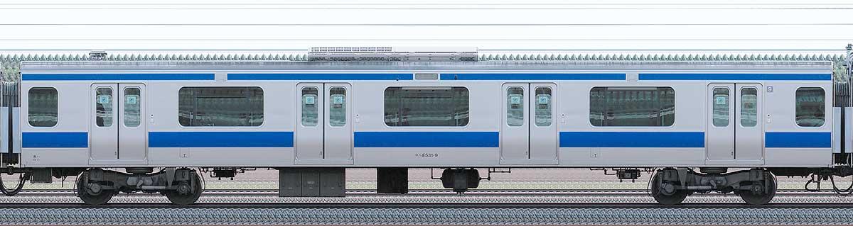 JR東日本E531系サハE531-9山側の側面写真