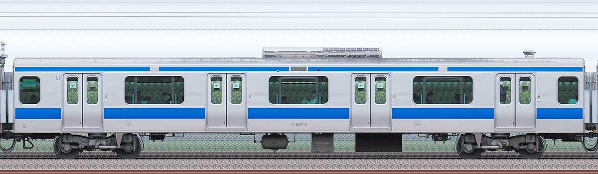 JR東日本E531系サハE531-9海側の側面写真