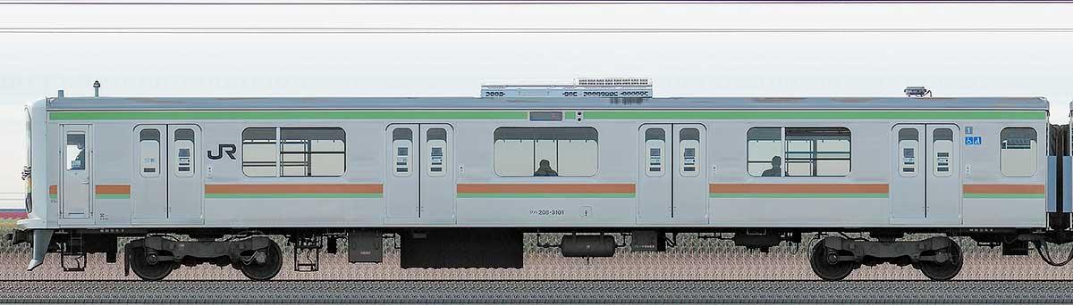 JR東日本209系クハ208-3101海側の側面写真