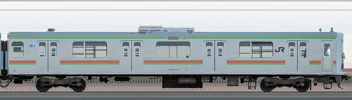 JR東日本209系クハ209-3101海側の側面写真