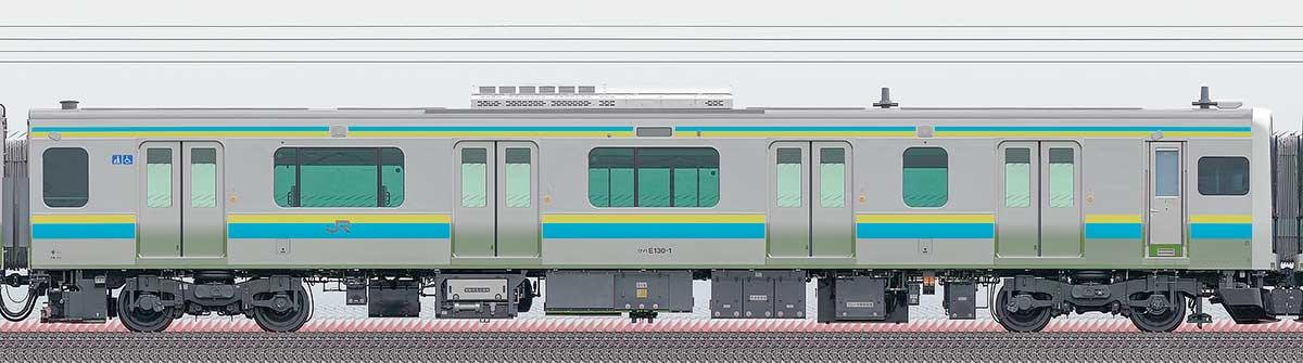 JR東日本E131系クハE130-1山側の側面写真