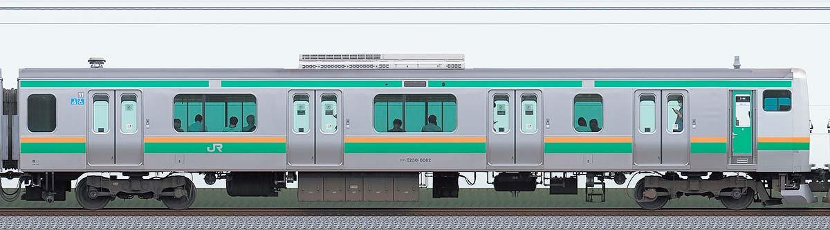 JR東日本E231系クハE230-6062山側の側面写真