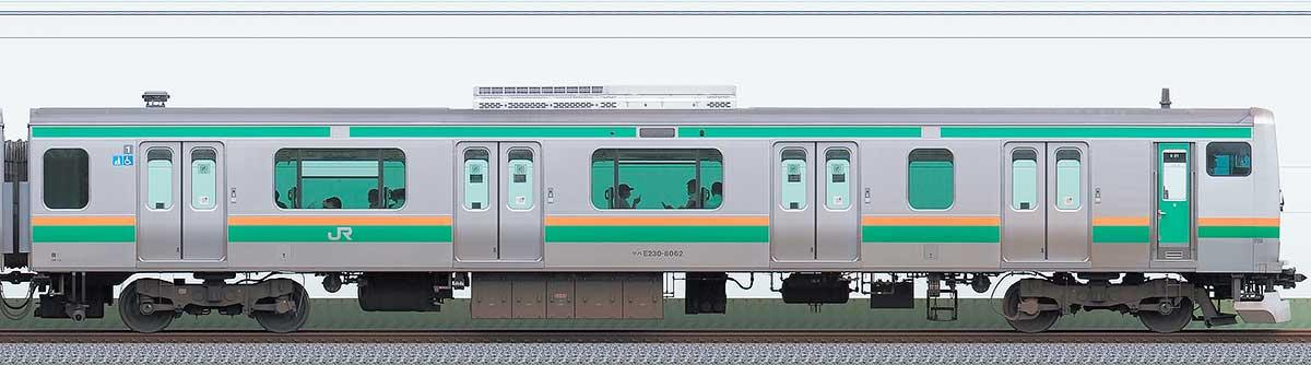 JR東日本E231系クハE230-8062山側の側面写真
