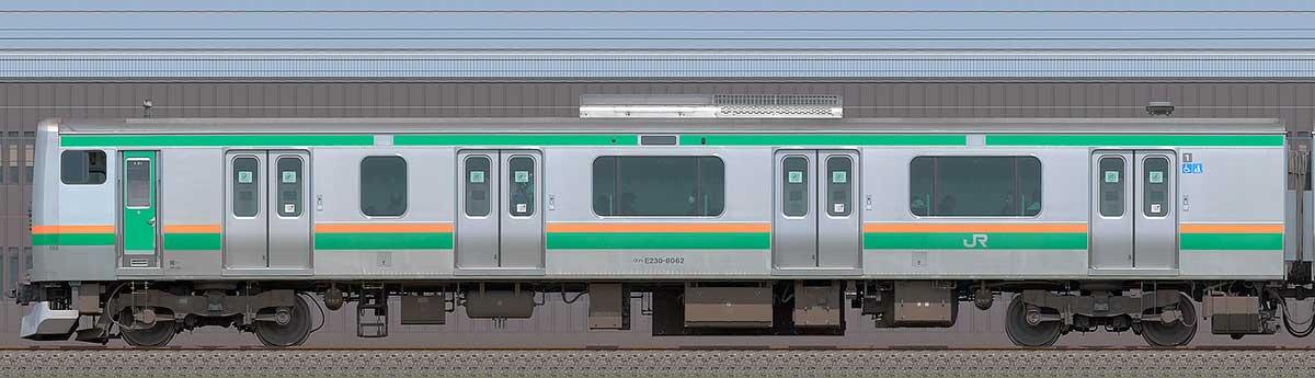 JR東日本E231系クハE230-8062海側の側面写真