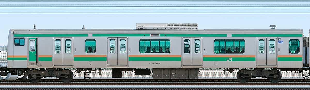 JR東日本E231系クハE231-6045山側の側面写真