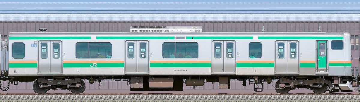 JR東日本E231系クハE231-6045海側の側面写真