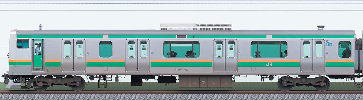 JR東日本E231系クハE231-8062山側の側面写真