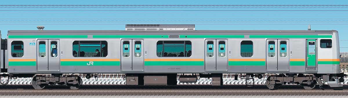 JR東日本E231系クハE231-8062海側の側面写真