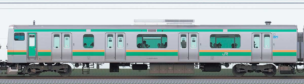 JR東日本E231系クハE231-8521山側の側面写真