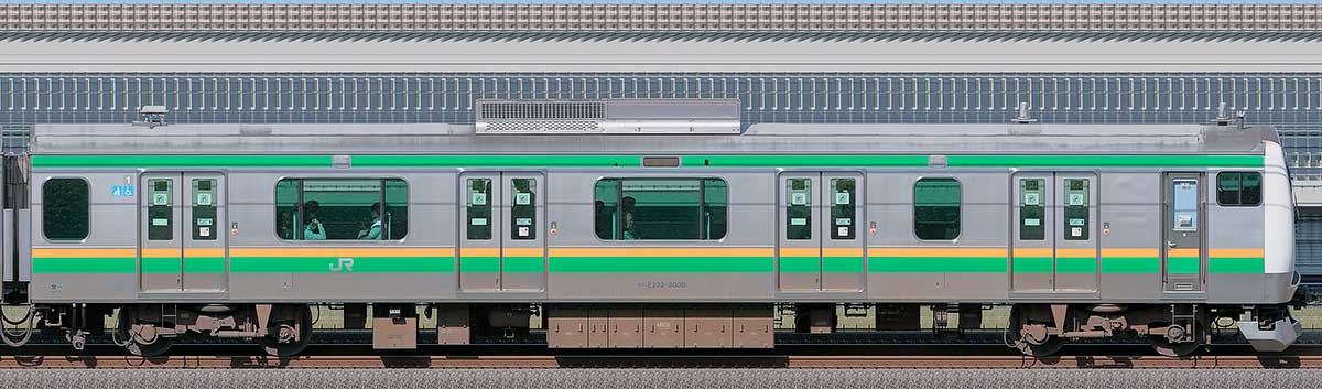 JR東日本E233系3000番台クハE232-3030山側の側面写真
