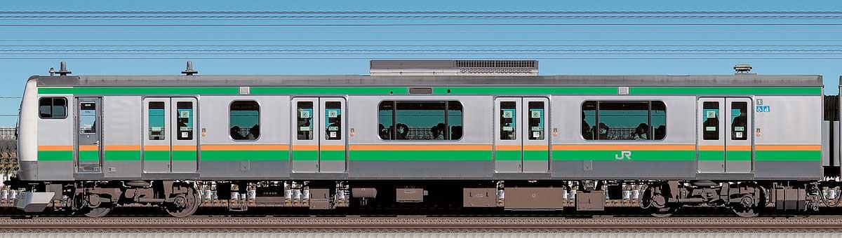 JR東日本E233系3000番台クハE232-3030海側の側面写真
