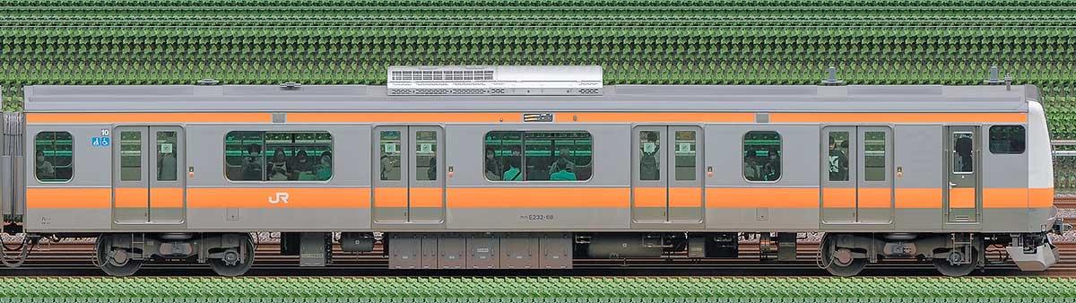 JR東日本E233系クハE232-68山側の側面写真