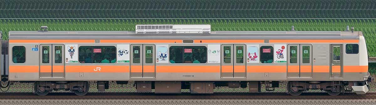 JR東日本E233系クハE233-10(東京 2020 マスコット特別車体ラッピングトレイン) 海側の側面写真