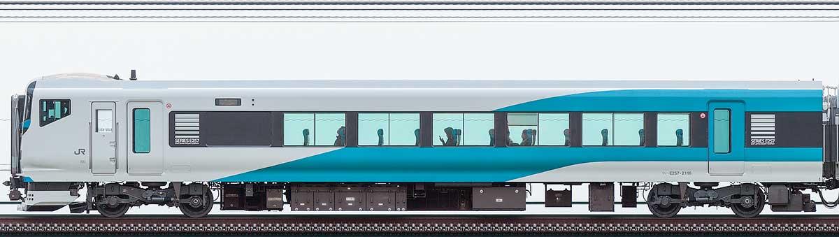 JR東日本E257系クハE257-2116山側の側面写真