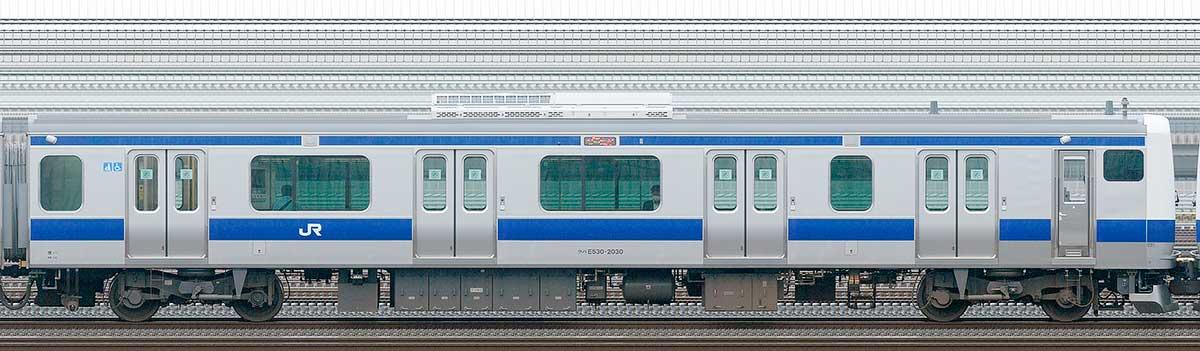 JR東日本E531系クハE530-2030山側の側面写真