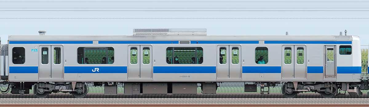 JR東日本E531系クハE531-15海側の側面写真