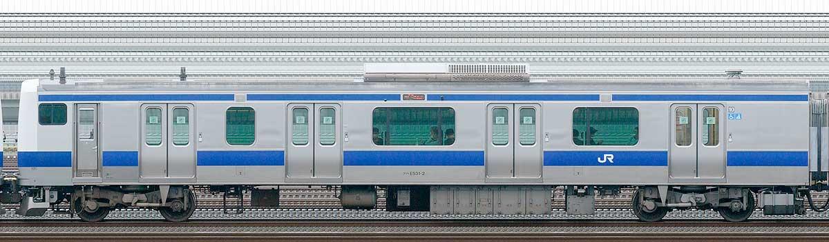 JR東日本E531系クハE531-2山側の側面写真
