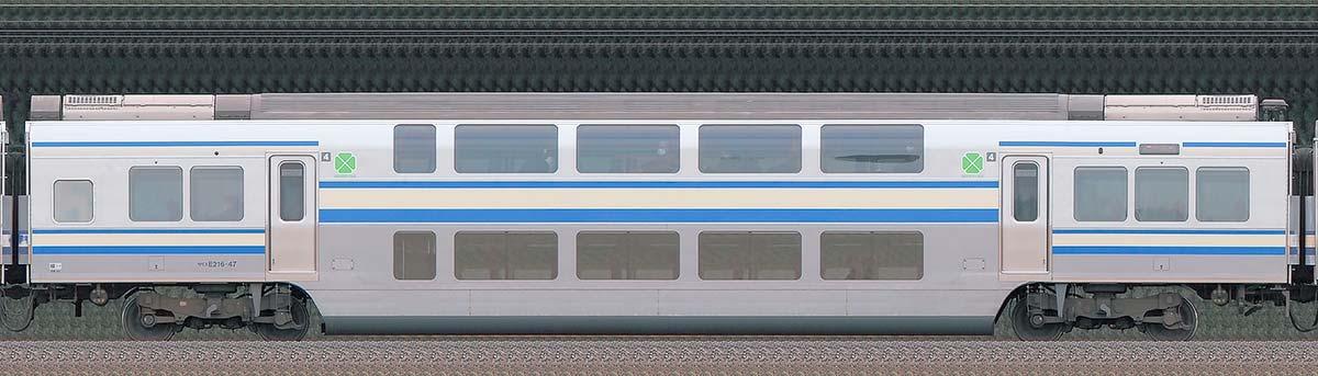 JR東日本E217系サロE216-47山側の側面写真