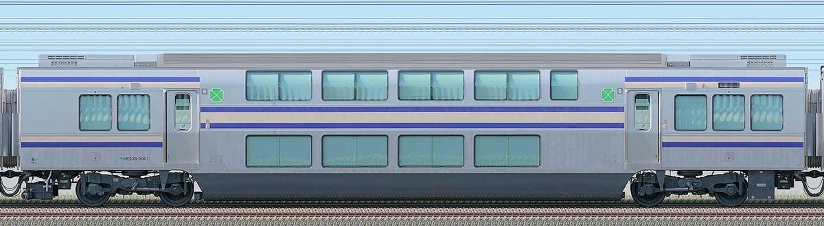JR東日本E235系1000番台サロE235-1001海側の側面写真