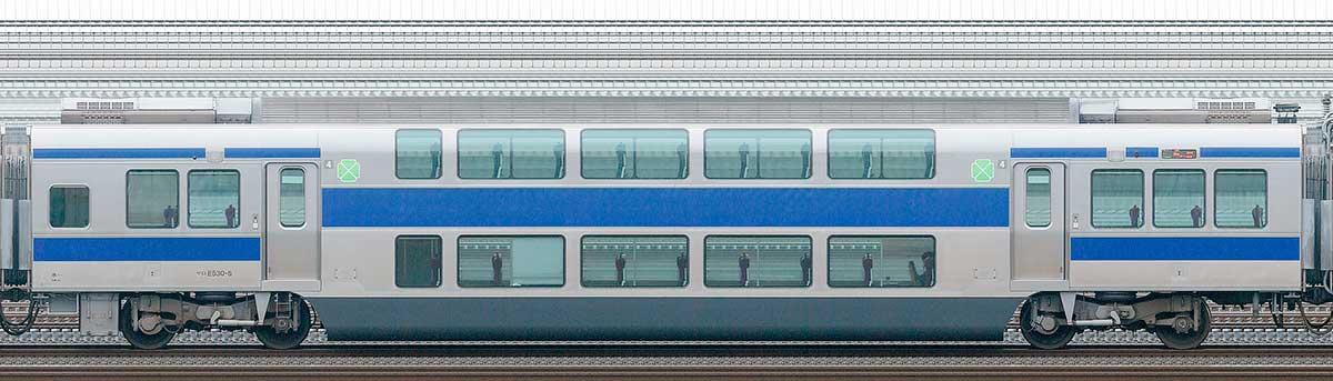 JR東日本E531系サロE530-5山側の側面写真