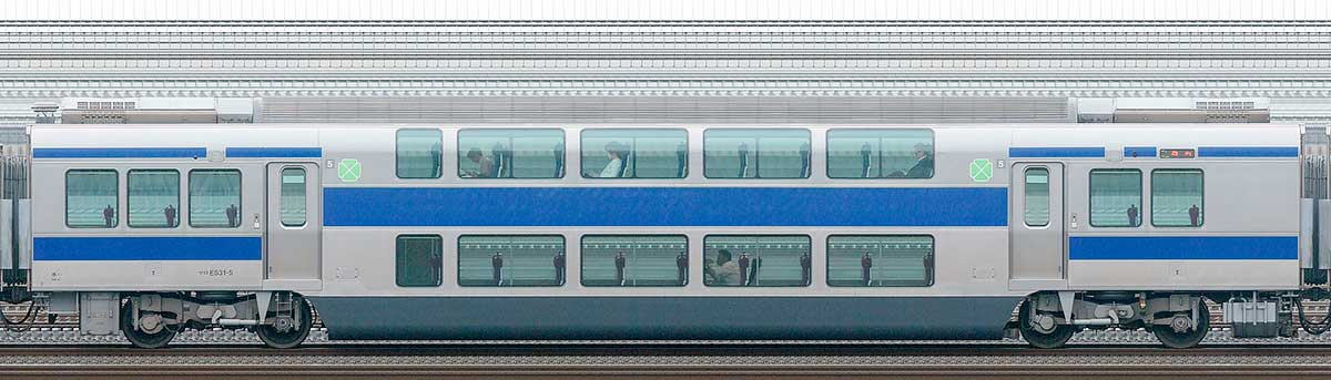 JR東日本E531系サロE531-5山側の側面写真