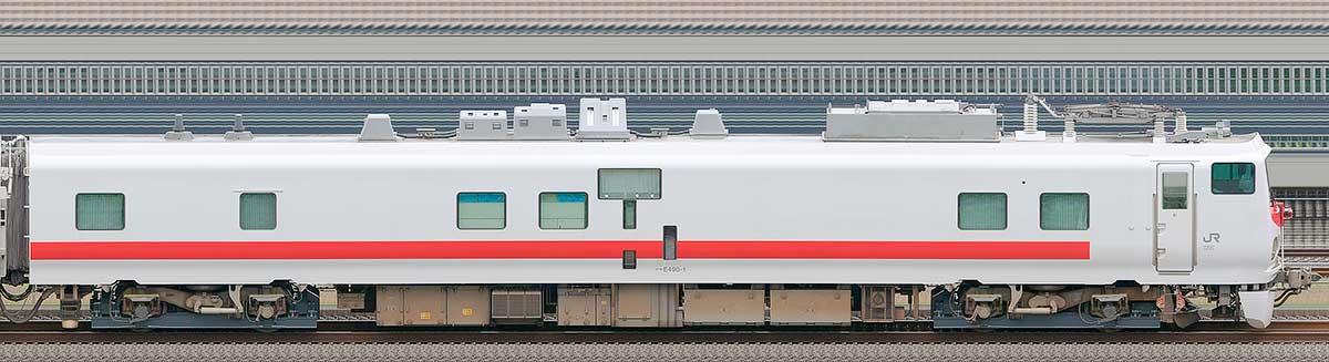 JR東日本E491系「East i-E」クヤE490-1山側の側面写真