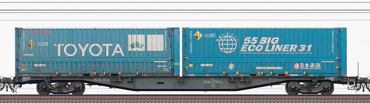 JR貨物コキ100系コキ104-17901-3位の側面写真