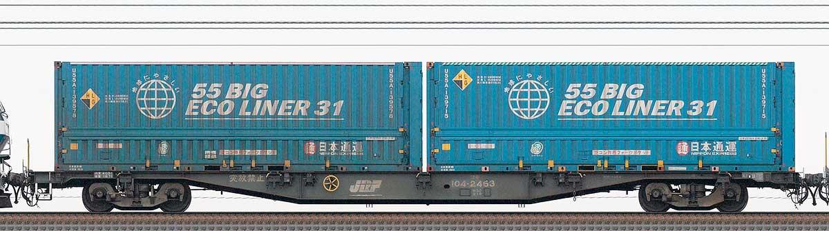 JR貨物コキ100系コキ104-24631-3位の側面写真