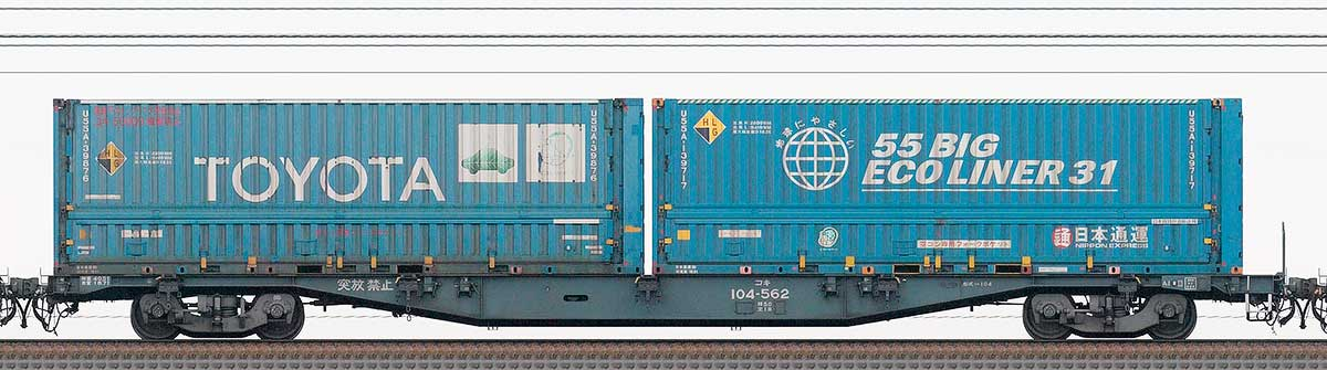 JR貨物コキ100系コキ104-5622-4位の側面写真