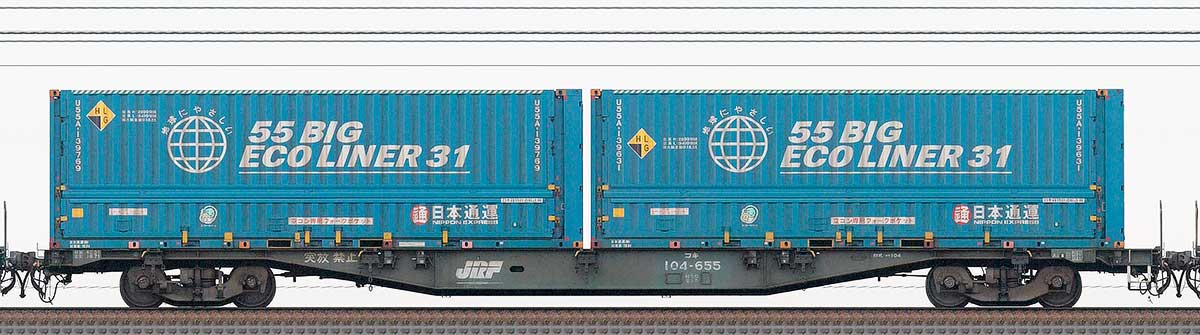 JR貨物コキ100系コキ104-6552-4位の側面写真
