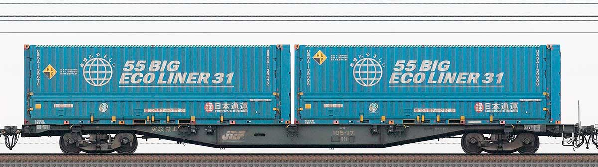 JR貨物コキ100系コキ105-172-4位の側面写真