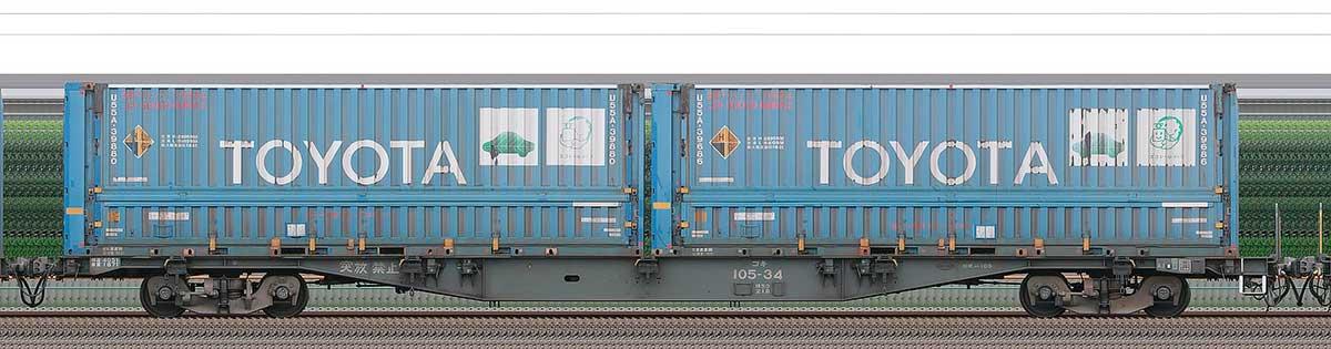 JR貨物コキ100系コキ105-342-4位の側面写真