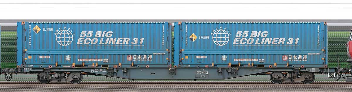 JR貨物コキ100系コキ105-422-4位の側面写真