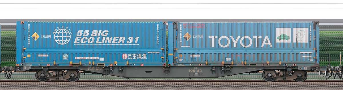 JR貨物コキ100系コキ105-432-4位の側面写真