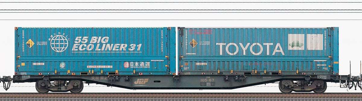 JR貨物コキ100系コキ105-672-4位の側面写真
