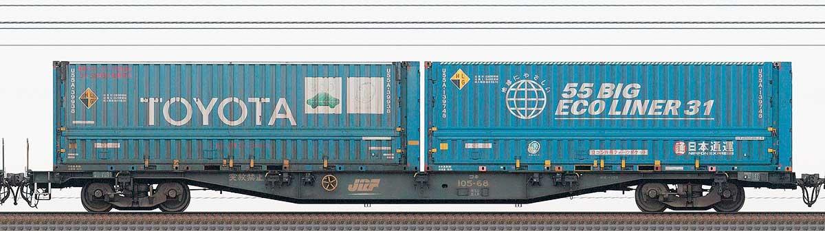 JR貨物コキ100系コキ105-681-3位の側面写真