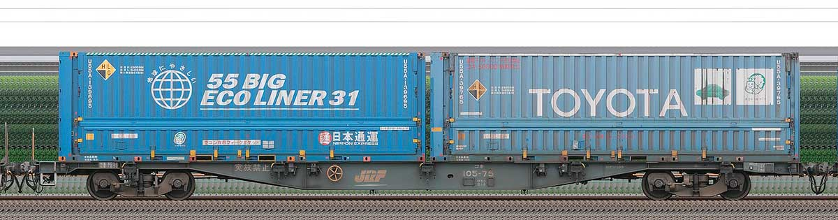 JR貨物コキ100系コキ105-751-3位の側面写真