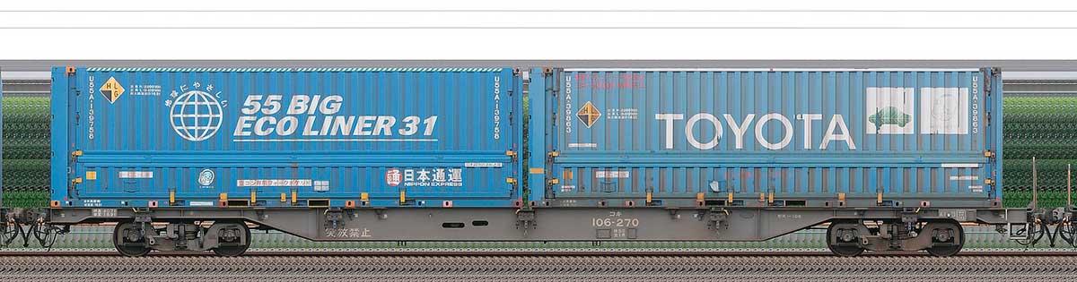 JR貨物コキ100系コキ106-2702-4位の側面写真