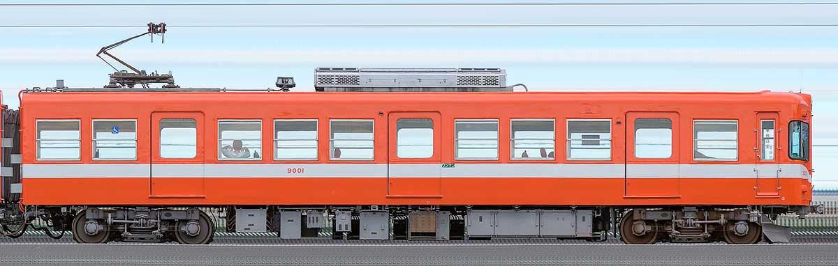 岳南電車9000形モハ9001逆サイドの側面写真