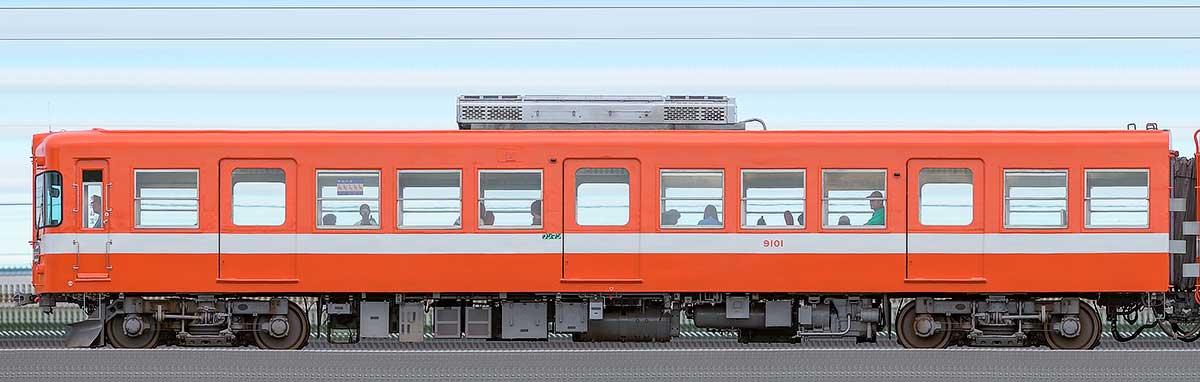 岳南電車9000形クハ9101逆サイドの側面写真